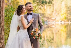 Glückliches Hochzeitspaar - Hochzeitswünsche von Herzen